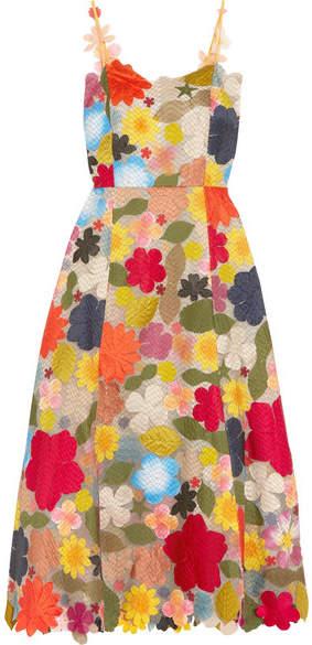 Rosie Assoulin Hodges Podges Floral-appliquéd Silk-organza Midi Dress - Cream