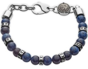 Diesel Men's Beads Stainless Steel and African Blue Stone Beaded Bracelet