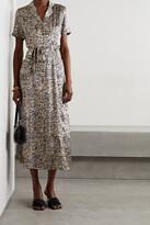 Thumbnail for your product : HVN Long Maria Printed Silk-satin Midi Shirt Dress - Animal print