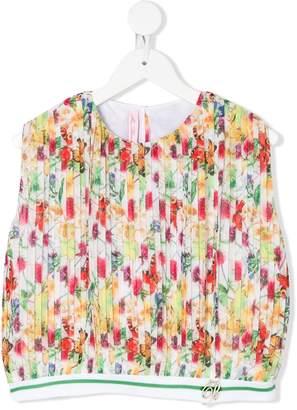 Miss Blumarine Floral Print Pleated Top
