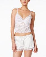 Oscar de la Renta Lace Crop Top and Satin Shorts Pajama Set