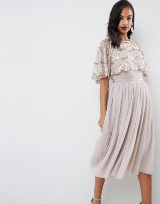 Asos Design DESIGN scallop hem embellished crop top midi dress-Gold