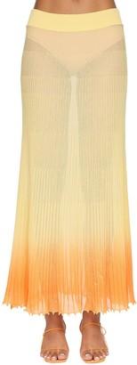 Jacquemus Gradient Plisse Sheer Knit Midi Skirt