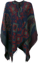 Etro embroidered knitted cape - women - Cotton/Modal/Wool - One Size