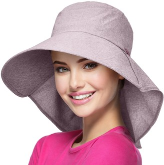 Solaris Women Wide Brim Summer Sun Hat with Neck Cover and Adjustable Strap Floppy Foldable Bucket Hat for Hiking Fishing Gardening Safari Beach Red