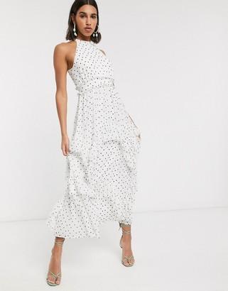Asos DESIGN Premium high neck ruffle maxi dress in spot