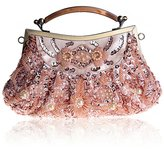 TopTie Retro Faux Leather Evening Bag Beaded Wedding Handbag