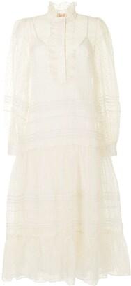 Tory Burch Embroidered Shirt Midi Silk Dress