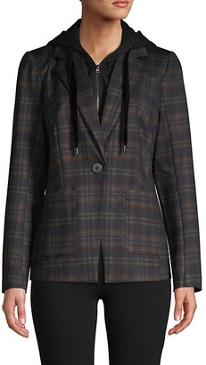 Laundry by Shelli Segal Hood-Insert Plaid Blazer