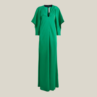 Victoria Beckham Green V-Neck Draped Sleeves Gown UK 16
