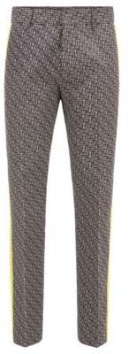 HUGO BOSS Relaxed Fit Pants In Cotton With Contrast Panels - Black