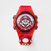 Nintendo Kids Super Mario Brothers Flashing Charm & Dial Analog Watch_Red