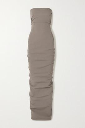 Rick Owens Strapless Stretch Cotton-blend Crepe Maxi Dress - Metallic