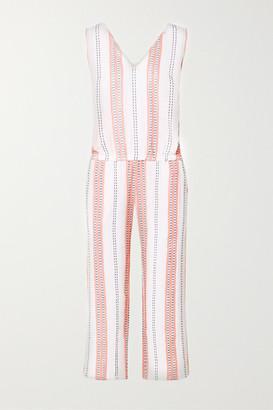 Lemlem + Net Sustain Zenha Cropped Striped Cotton-blend Gauze Jumpsuit - White