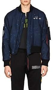 Off-White c/o Art Dad Men's New Age Galaxy-Print Tech-Satin Bomber Jacket - Navy