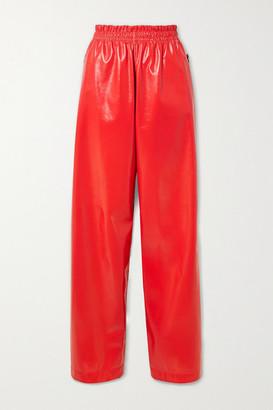 Bottega Veneta Crinkled Glossed-leather Wide-leg Pants - Red