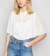 New Look Metallic Spot Flutter Sleeve Shirt