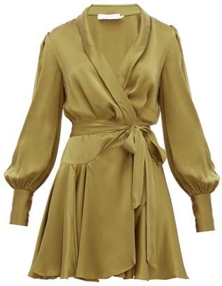 Zimmermann Super Eight Silk Wrap Mini Dress - Khaki