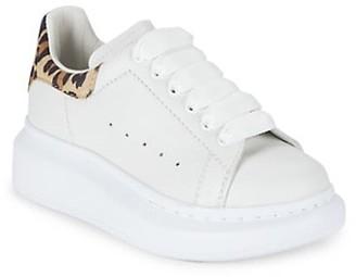 Alexander McQueen Kid's Leopard Back Leather Sneakers