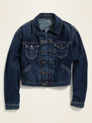 Old Navy Cropped Dark-Wash Jean Jacket for Women