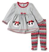 Nannette Baby Bow tie Panda Dress With Leggings Set