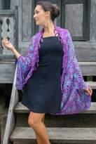 Purple Rayon Batik Shawl Jacket Versatile Accessory, 'Denpasar Lady in Purple'