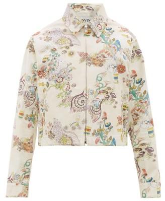 Lanvin Fairy-print Cotton Gabardine Harrington Jacket - Mens - Cream
