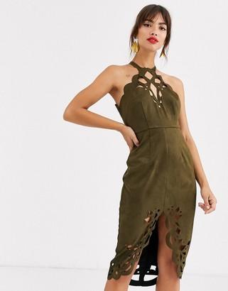 Asos Design DESIGN suedette midi dress with cutwork detail-Green