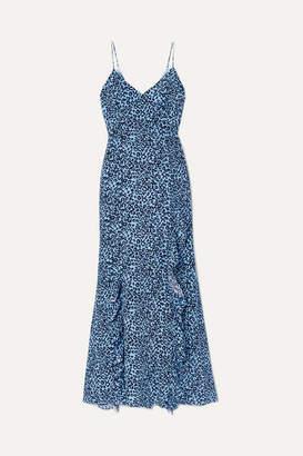 Les Rêveries Ruffled Leopard-print Silk Crepe De Chine Maxi Dress - Blue