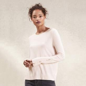 The White Company Tiny Button Cuff Jumper with Cashmere , Petal Pink, 18