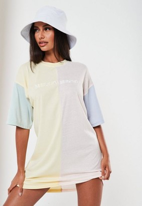 Missguided Pink Colorblock Oversized T Shirt Dress