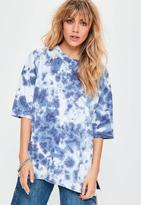 Missguided Blue Tie Dye Short Sleeve Sweatshirt, White