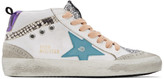 Golden Goose White and Blue Mid Star Sneakers