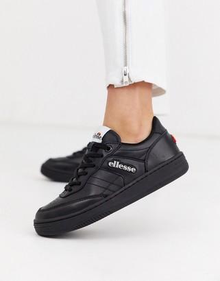 Ellesse vinitziana leather lace up sneaker in black