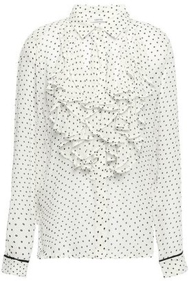 Ganni Rometty Ruffled Floral-print Georgette Blouse