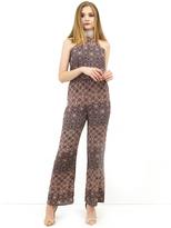 West Coast Wardrobe Temecula Halter Jumpsuit in Brown Floral