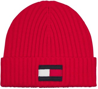 Tommy Hilfiger Kids Large Flag Beanie - Red