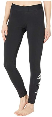 adidas Stacked Logo Cotton Tights (Black/White) Women's Casual Pants