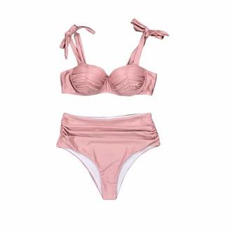 Buyao Womens Vintage Swimsuit Two Piece Halter Ruched Push Up High Waist Bikini Set Swimwear Bathing Suit Pink