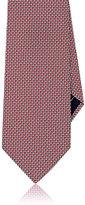 Brioni Men's Basket-Weave Neat Silk Necktie-RED, GREY, WHITE