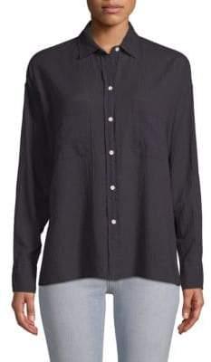 Vince Striped Long-Sleeve Cotton Shirt