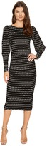Nicole Miller Elizabetta Dotted Stripes Long Sleeve Jersey Dress Women's Dress