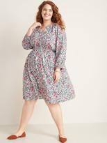 Plus-Size Tassel-Tie Boho Floral Dress