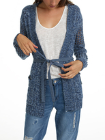 White + Warren Denim D-ring Tab Cardigan