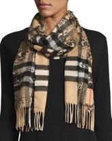 Burberry Python-Print Check Cashmere Scarf, Camel Black
