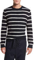 Vince Textured Stripe Crewneck Sweater, Navy