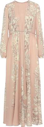 Valentino Pleated Printed Wool-crepe Gown