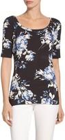 St. John Shadow Blossom Print Jersey T-Shirt