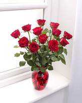 Fashion World 12 Red Rose Bouquet and Glass Vase