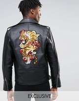 Reclaimed Vintage Leather Biker Jacket With Back Patch